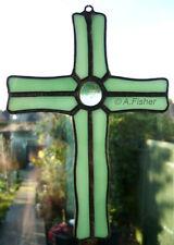 Stained Glass 'Wavy' Cross - Handmade -Pale Green - Suncatcher  Wall Hanging NEW