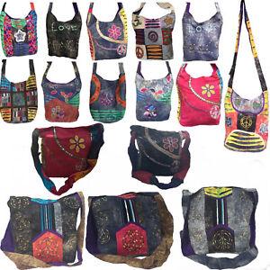LARGE HIPPY BAG SHOULDER SLING Multi Coloured Patchwork Boho Ethnic Hippie