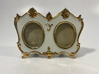 Vintage Porcelain Double Picture Frame - White Gold Trimmed - Made In Japan