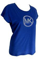 Michael Kors Top T Shirt Sml Bright Royal Blue w/ Silver Studded MK Logo NWT $64