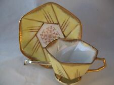 Vintage Iridescent Lusterware Cup & Saucer Yellow Japan Brushed Gold Pearlized