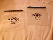"""(2) New HARD ROCK Florence """"Firenze"""" Cafe Limited Edition Clear Zip Bags!! Rare!"""