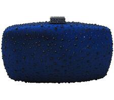 Anthony David Navy Blue Satin & Crystal Handbag Evening Bag Silver Clutch Purse