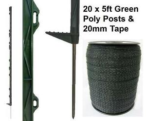 20 X GREEN 5FT POSTS & 20MM POLY TAPE Electric Fence Fencing Horse Paddock