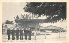 AIRPLANE SWING SILVER BEACH PARK ST. JOSEPH MICHIGAN MILITARY POSTCARD (c. 1930)