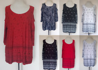 NEW LADIES BORDER PRINT COLD SHOULDER TOP TUNIC PLUS SIZE 14-32 MADE IN UK