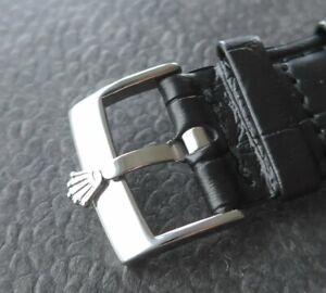 ROLEX Edelstahl Dornschließe (NOS) mit 20mm Qualitäts-Lederband -schwarz-