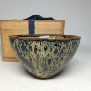 E0339: Chinese tea bowl TENMOKU-CHAWAN of porcelain w/wonderful glaze pattern