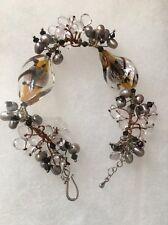"Fabulous Pearls and Crystal Beads Silver Hook Bracelet Elegant! 7"""