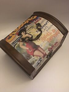 Art Nouveau Style Wooden Chest Keepsake Storage Box (B9)