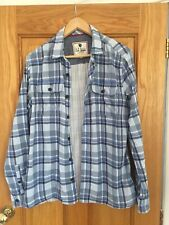 MENS FAT FACE BLUE CHECKED SHIRT WARM LINED EXCELLENT CONDITION   Sz Large