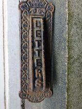 ANTIQUE 19TH C VICTORIAN STYLE HEAVEY CAST IRON METAL DOOR KNOCKER LETTER BOX
