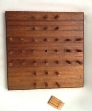 Vintage ~  Antique  Wooden Handmade Peg Game Board  w/ Pegs  EVC