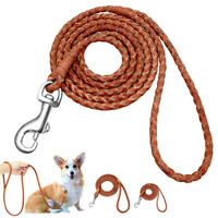 Braided Leather Dog Leash 4 Foot Lead Puppy Small Dog Walking Leash Belt Brown