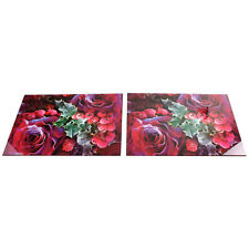 Set Of 2 Glass Berries Design Rectangle Placemats Dining Table Mats Tableware
