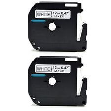 2 X hermano compatible mk-231 12mm x8m Cinta Para P-touch Pt-80 Pt-85 Pt-90 Pt-100