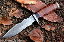 Handmade Damascus Steel Bowie Hunting Knife 11'' Stacked Leather Handle VK5052