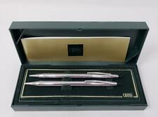 Cross Chrome Silver Tone Pen Pencil Set Boxed