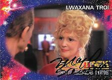 LWAXANA TROI, STAR TREK DEEP SPACE NINE, HAND SIGNED TRADING CARD
