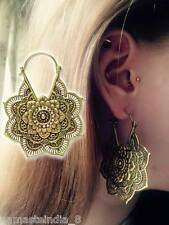 ETHNIC MANDALA HIGH POLISHED TRIBAL BRASS BOHO HOOP GYPSY EARRINGS GAUGES GIRLY