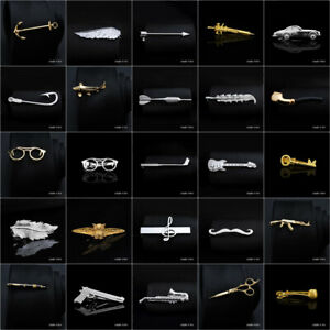 Men's Fashion Silver Gold Tie Necktie Pin Clip Bar Steel Clasp Wedding Jewelry