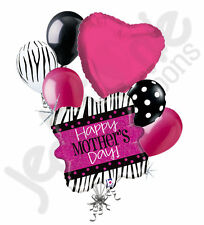 7 pc Pink Zebra Holographic Happy Mother's Day Balloon Bouquet Party Decoration