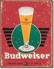 Budweiser Retro Glass Metal Wall Sign 420mm x 310mm (sf)