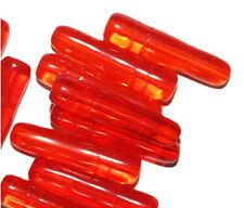Transparent Orange Bottle Czech Pressed Glass Beads 28mm (pack of 10)