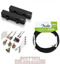 EMG JCS SET BLACK ACTIVE JAZZ BASS PICKUPS ( FENDER 18FT CABLE ) CERAMIC & STEEL