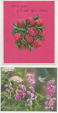 VINTAGE RASPBERRY CHIFFON PIE RECIPE BIRTHDAY ART PRINT 1 LANG SWEET PEAS CARD