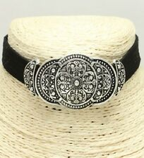 Antique Silver and Black FASHION Choker Necklace