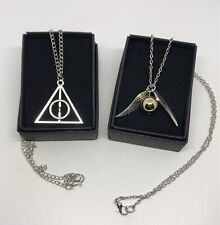 2 Brand New Harry Potter Movie Golden Snitch Wings Deathly Hallows Necklaces