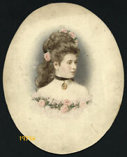 Larger size hand tinted Photograph, woman w flowers, 1910's Hungary