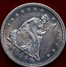 Uncirculated 1854 Philadelphia Mint Silver Seated Liberty Quarter with Arrows