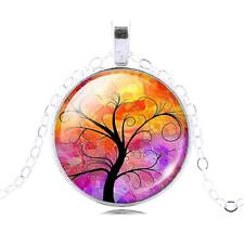 Silver Tree of Life Glass Cabochon Pendant Necklace, Sacred Tree, TL78