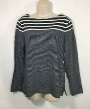 GAP Women Long Sleeve Boat Neck  Size L White/Navy Blue Striped NWT