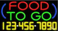 """NEW """"FOOD TO GO"""" W/YOUR PHONE NUMBER 37x20 REAL NEON SIGN W/CUSTOM OPTIONS 15027"""