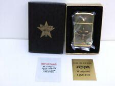 New listing New 1992 Marlboro Steer & Star Solid Brass Slim Zippo Lighter Mint In Box Papers