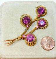 Vintage  Abstract Purple Rhinestone Flower Gold tone Brooch Pin 9f 89