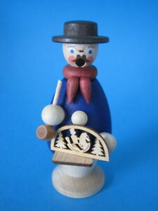 Räuchermann Schwibbogenhändler blau 9 cm Miniatur Handarbeit Erzgebirge Seiffen