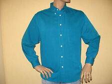 NEW MENS BOYS PEACOCK GREEN BLUE LONG SLEEVE MICROFIBRE SHIRT MEDIUM 38/40 CHEST