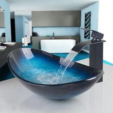 Bathroom tempered glass wash basin bowl vessel basin sink mixer water set