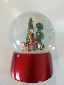 """Snow Globe TOPIARY & DEER 5.25"""" Nordstrom Holiday 2014 Christmas Red Gifts"""