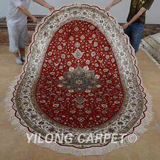 Yilong 6'x9' Handmade Silk Rugs Oriental Medallion Oval Floor Carpets 0968