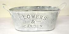 Flower & Garden Metal Bucket Tin Plant Planter Pot 24cm Vintage Galvanised Decor