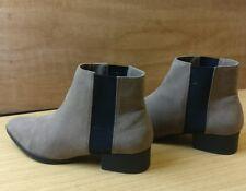H&M Da Donna Nero Grigio/Luce Marrone Pelle Alla Caviglia Scarpe Stivali con Tacco Piatto Misura UK 3 EU 36