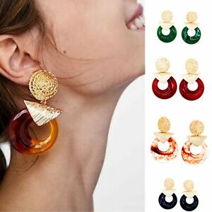 Drop Earrings Statement Boho Gold Style Large Ear Stud Round Acrylic New Colours