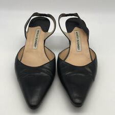 Manolo Blahnik Black Leather Pointed Toe Slingback Heels Size 6.5 - 38EU
