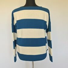L-3675999 New Gucci Royale Blue & White Striped Boat Neck Sweater Size-XL
