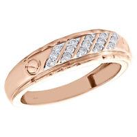 10K Rose Gold Genuine Round Diamond Wedding Band 6.50mm Mens Screw Ring 1/5 CT.